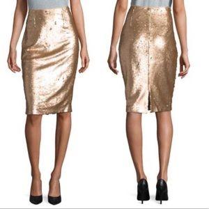Eliza J Gold Sequin Pencil Skirt Sz 2 NEW